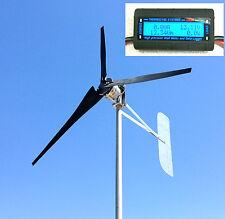 Wind Turbine Rol Generator 1000 Watt 3 black blade 48 DC 2 Wire 3.75 kWh W/METER