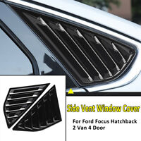 Gloss Black Rear Quarter Window Louvers Vent Trim For Ford Focus Hatchback
