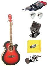 Oscar Schmidt OG10CEFTR Flame Trans Red A/E Guitar with Clip-on Tuner Bundle