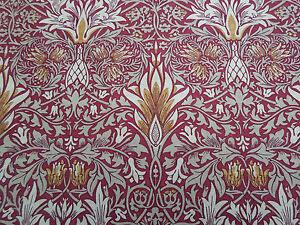 William Morris Curtain Fabric 'SNAKESHEAD' 1 METRE (100cm) CLARET/GOLD - LINEN