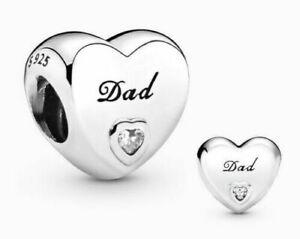 Genuine Pandora Sterling Silver ALE 925 Dad Love Heart Charm 796458CZ