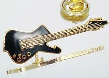 Vintage Gold Plated Mini Ibanez Iceman Guitar Lapel Pin Music Jewelry Black