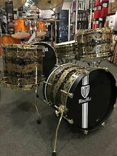 John Aldridge Hand Engraved Black Beauty Masterpiece 4 Piece Drum Set. World Max
