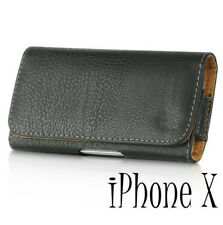 for iPhone X - HORIZONTAL BLACK Leather Skin Pouch Holder Belt Clip Holster Case