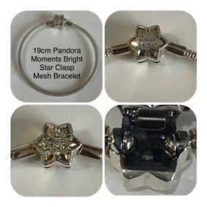 PANDORA 19cm BRIGHT STAR CLASP MESH CHARM BRACELET REF 598616CO1 RRP £60.00
