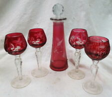 vintage cut to clear ruby red decanter 4 cordil set estate find & 1 extra goblet