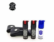 Police Magnum Mace Pepper Spray 2 Pack 1/2oz Keychain Holster w/ Practice Spray