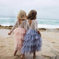 Stunning Silver Lace Bohemian Spirit Long Lace Sleeve Flower Girl Occasion Dress