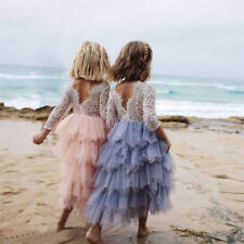 Girls Long Silver Blue Bohemian Spirit Lace Sleeve Flower Girl Occasion Dress