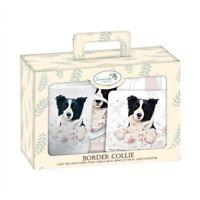 Border Collie Tea Time Gift Set.  Collie Mug, Biscuit Tray & Coaster. FREE P&P