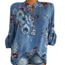 Damen Blumen Hemd Bluse Longbluse Longtop Tunika Oberteil Shirts 40 42 44 46 48