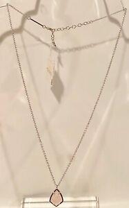 KENDRA SCOTT Cory Rose Quartz Rhodium Pendant Necklace    NEW