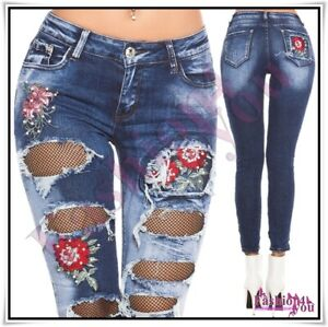 Women's Ripped Jeans Sexy Ladies Skinny Casual Denim Trousers Size 6,8,12 UK