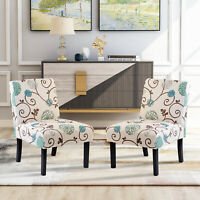 Set of 2 Armless Accent Chair Upholstered Chairs Tufted Sofa for Living Room