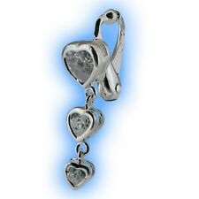 Clear Heart Trio Non Piercing Clipon Navel Jewelry Fake Belly Button Ring Dangly