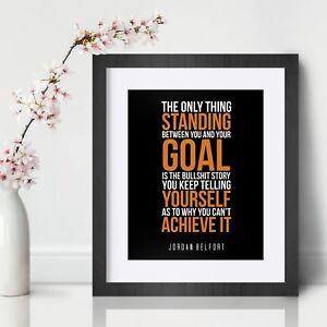 Jordan Belfort Inspirational Wall Art Print Motivational Quote Poster Decor Gift
