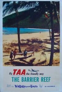 TRANS AUSTRALIA AIRLINES TAA BARRIER REEF Vintage 1958 poster 24x38 NM LINEN