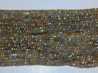 """3-4 MM NATURAL AAA LABRADORITE FACETED RONDELLE BEADS GEMSTONE 13"""" STRAND GEMS"""