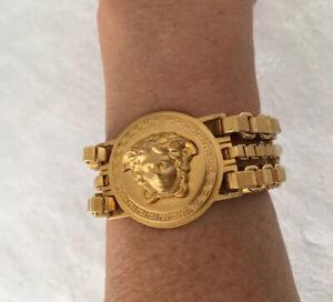 Versace New W Box Authentication Card Medusa Bracelet Gold Plate Triple Strand