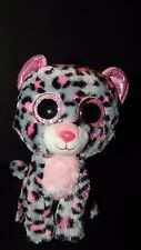 "TY Beanie Boos Soft Toy TASHA LEOPARD CAT 6"" Plush 2015 Pink GLITTER Eyes Gray"