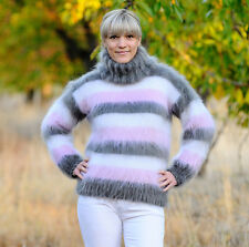 80% MOHAIR Hand Knitted Sweater white pink gray Jumper Handmade Fluffy New SALE