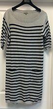 Jigsaw Mini Striped Gray/Blue 100%Wool Short Sleeves Pockets Sweater Dress Sz L