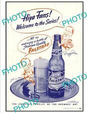 OLD 6x4 HISTORIC POSTER, ST LOUIS Mo 1944 FALSTAFF BEER BASEBALL WORLD SERIES