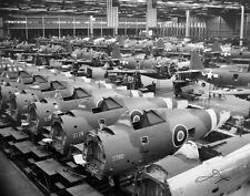 WWII B&W Photo P-47 Thunderbolt Assembly  Line RAF & USAAF  WW2  / 5156  NEW