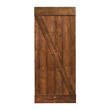"36""x84"" Walnut Stain Solid Core Plank Knotty Pine Barn Wood Sliding Door"
