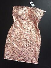 NWT Bebe ivory rose pink strapless sequin beaded club top dress S Small luxury