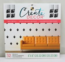"""DCWV Create Decor Removable Wall Decals 8"""" x 8"""" Black Damask, Includes 32 Decals"""