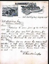 1888 Salt Lake City Utah Brewing Co - Beer Antique Letterhead - A Fisher - RARE