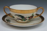 Pickard Gold Pheasant Hand Painted Cream Soup Under Plate 1925 Mark - D