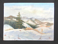 1961 Lovely Winter Landscape Russian Oil on Board Painting Sign Mateev Pine Tree