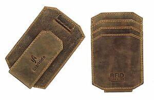 Real Leather Slim Credit Card Holder Wallet Case Strong Magnetic Money Clip 725