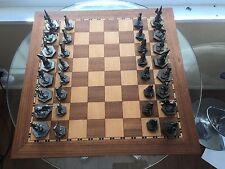 Pewter Medieval Fantasy Chess Set castle unicorn joker king queen Norm Collignon