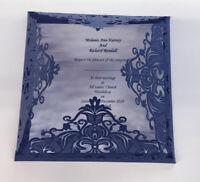 10 SAMPLE LASER CUT WEDDING INVITE NAVY SHIMMER ELOISE WALLET & INSERT