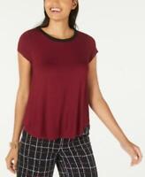 Alfani Women's Crew Neck Short Sleeve Sweater-Trim T-Shirt (Wine, M)