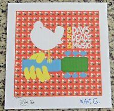 Blotter Art WOODSTOCK Signed By 2 Wavy &  JOE With JIM MARSHALL PHOTO Signed