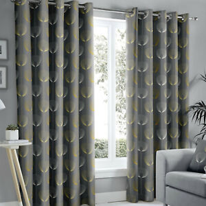 Delta Grey Eyelet Lined Contemporary Ready Made Curtains