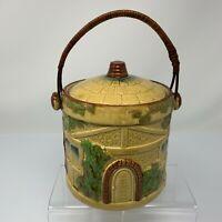 Vintage Japanese Ceramic Biscuit Jar English Cottage Cookie Wicker Handle Japan