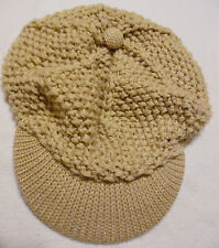 MARY-KATE AND ASHLEY Brand Khaki Tan Thick Knit Newsboy Cabbie Hat GIRLS 7 to 14
