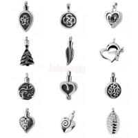Cremation Urn Necklace Keepsake Memorial Jewelry Leaf/Round/Heart Pendant Silver