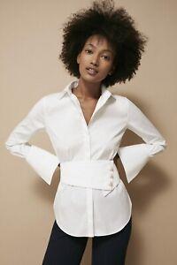 ICONIC CAROLINA HERRERA White button up blouse shirt top Size UK 10 US 6