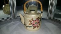 Vintage Japan Teapot Hand Painted with Bamboo Handle - Perfect!