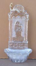 Ancien bénitier verre ou cristal VIERGE A L'ENFANT christianisme stoup cross #8