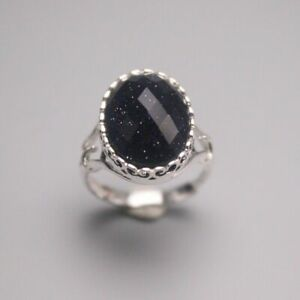 Pure 925 Sterling Silver with Oval Goldstone Ring For Woman