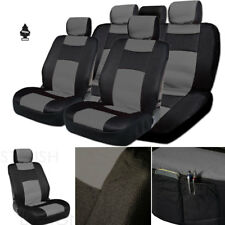 New Black Grey PU Leather Mesh Car Truck Seat Covers Gift Set For Toyota