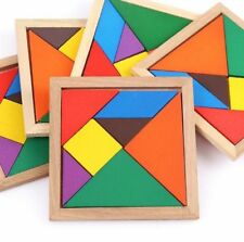 7 pc Wooden Intelligence Game Wood IQ Puzzle Jigsaw Tangram Creative Block