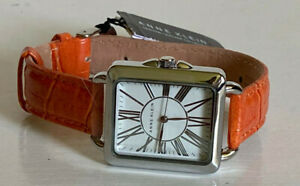 NEW ANNE KLEIN WHITE DIAL SILVER-TONE ORANGE GENUINE LEATHER BRACELET WATCH SALE